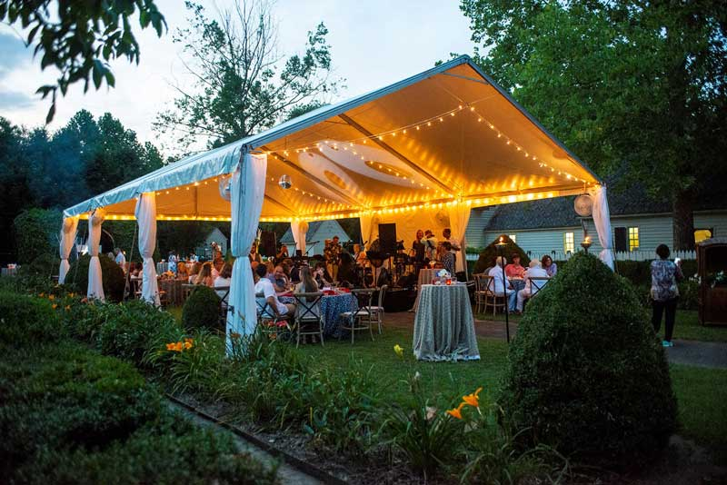 Nighttime Wedding in the Orchard Pavilion